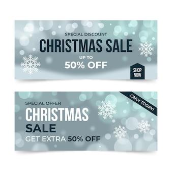 Plantilla de banner de venta de navidad borrosa