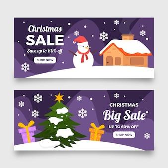 Plantilla de banner de venta de navidad de diseño plano
