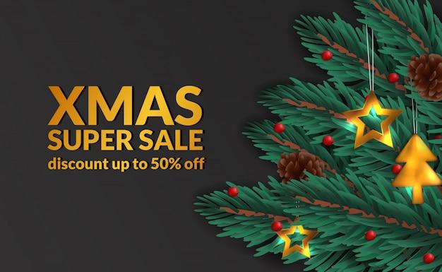 Plantilla de banner de venta de navidad de guirnalda de hojas de abeto