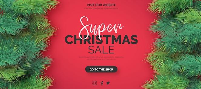 Plantilla de banner de venta de navidad realista