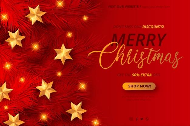Plantilla de banner de venta de navidad rojo y dorado