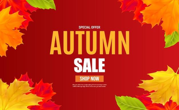 Plantilla de banner de venta otoño con hojas para venta comercial, banner, cartel. ilustración de vector eps10