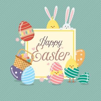 Plantilla de banner de venta de pascua con conejito conejo y huevos