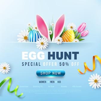 Plantilla de banner de venta de pascua con huevos de pascua y flores