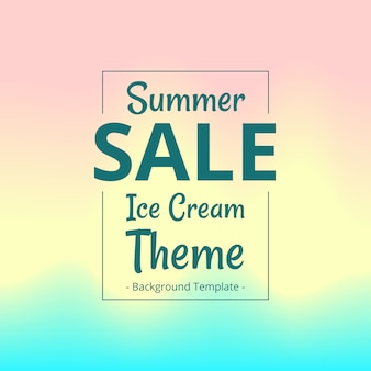 Plantilla de banner de venta plana de verano con fondo de helado borrosa
