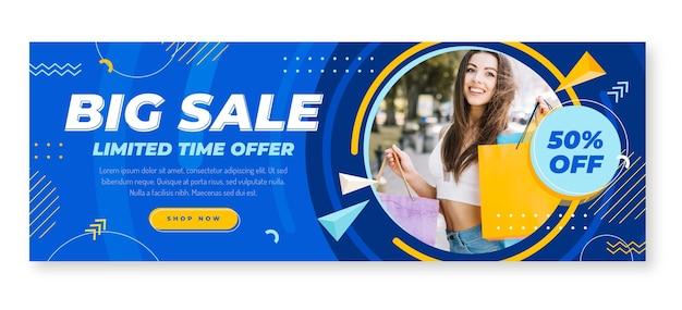 Plantilla de banner de venta plano horizontal con foto