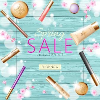 Plantilla de banner de venta de primavera cosmética 3d realista, cartel promocional cuadrado