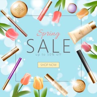 Plantilla de banner de venta de primavera cosmética 3d realista, cuadrado promocional