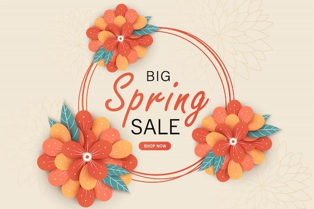 Plantilla de banner de venta de primavera con flor de papel