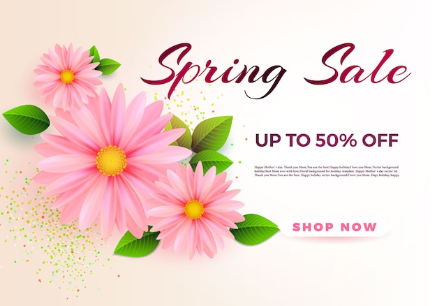 Plantilla de banner de venta de primavera con flores de primavera de papel para compras en línea.