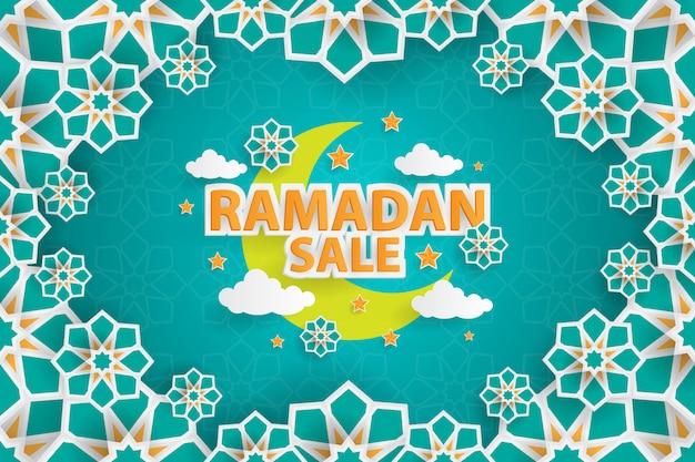 Plantilla de banner de venta de ramadán con adorno