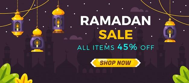 Plantilla de banner de venta de redes sociales de ramadán
