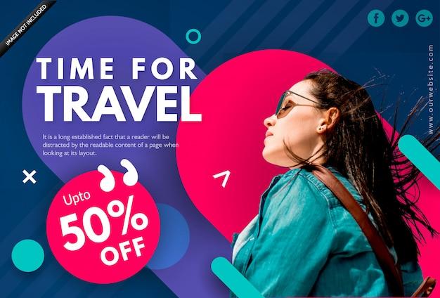 Plantilla de banner de venta de vacaciones de verano - hora de viajar