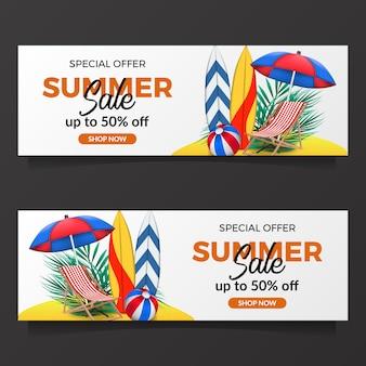 Plantilla de banner de venta de vacaciones de verano