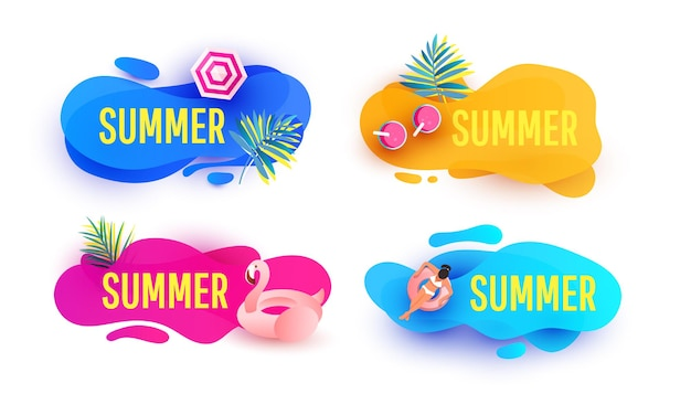 Plantilla de banner de venta de verano con burbuja geométrica abstracta líquida con hojas tropicales