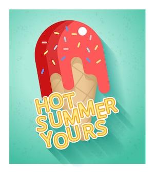 Plantilla de banner de venta de verano caliente con helado en estilo plano