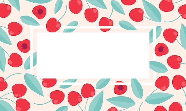 Plantilla de banner de venta de verano de cereza.