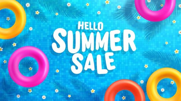 Plantilla de banner de venta de verano con coloridos anillos flotantes sobre el agua
