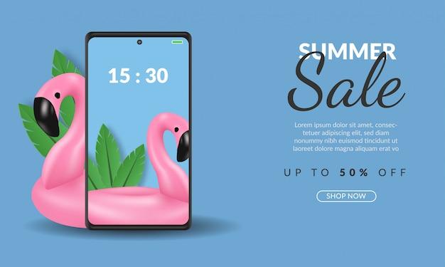 Plantilla de banner de venta de verano en compras en línea de teléfonos inteligentes con ilustración de flamenco sobre fondo azul, premium