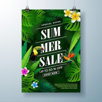 Plantilla de banner de venta de verano con flor, ave de tucán y hojas exóticas