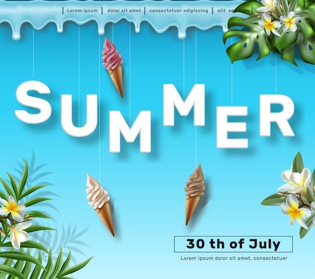 Plantilla de banner de venta de verano fondo azul con helado y plantas y flores tropicales