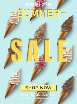 Plantilla de banner de venta de verano con helado