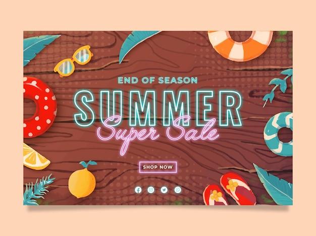 Plantilla de banner de venta de verano de luz de neón con ilustración de fondo de madera