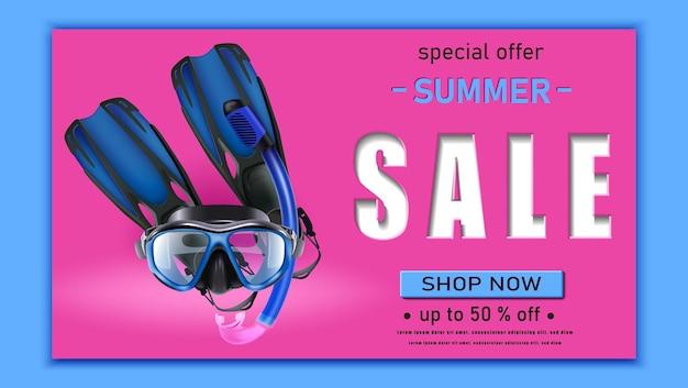 Plantilla de banner de venta de verano con máscara de buceo