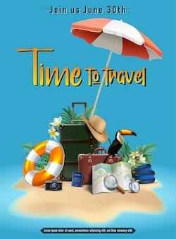 Plantilla de banner de venta de verano de vector orientación vertical con círculo de vida de sombrero de paraguas de equipaje m