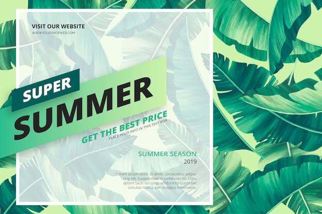 Plantilla de banner de venta de verano