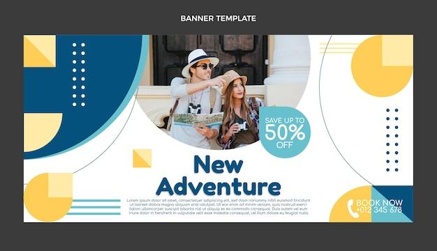 Plantilla de banner de venta de viajes planos
