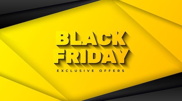 Plantilla de banner de venta de viernes negro con elemento abstracto amarillo y negro