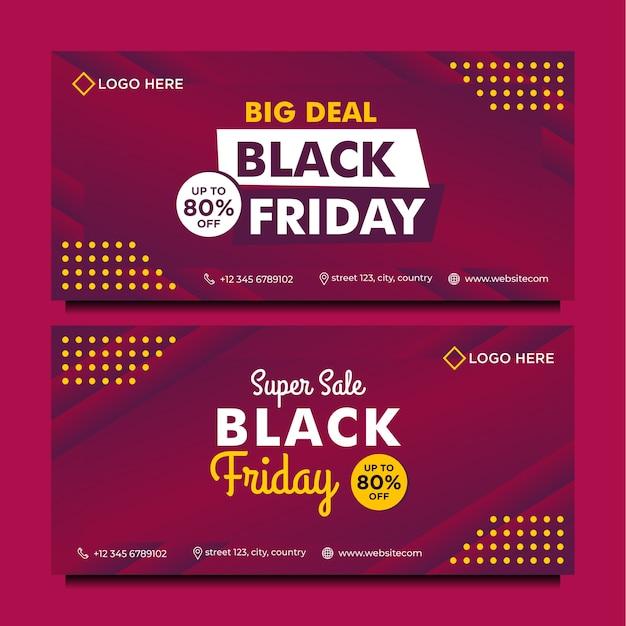 Plantilla de banner de venta de viernes negro con estilo degradado púrpura