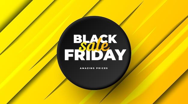 Plantilla de banner de venta de viernes negro con fondo amarillo abstracto y etiqueta negra
