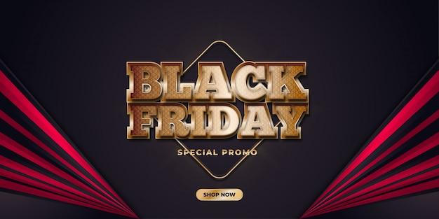 Plantilla de banner de venta de viernes negro con texto dorado sobre fondo elegante