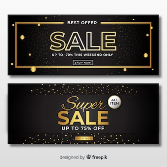 Plantilla de banner de ventas doradas