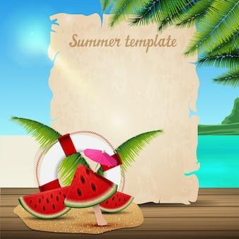 Plantilla de banner de verano en forma de pergamino en el fondo de un hermoso paisaje marino