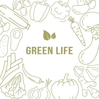 Plantilla de banner con verduras orgánicas.