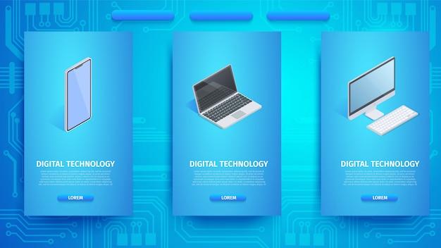 Plantilla de banner vertical de cloud technology