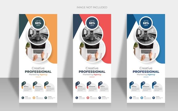 Plantilla de banner vertical enrollable de negocios premium