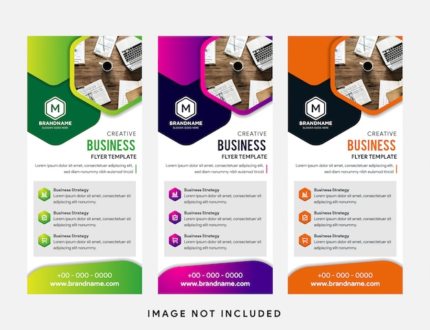 Plantilla de banner vertical enrollable