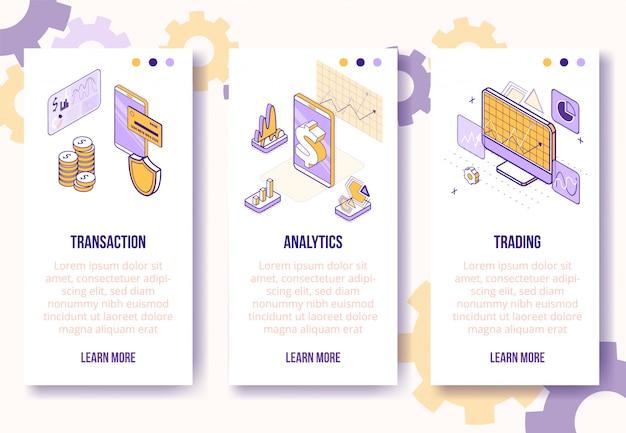 Plantilla de banner vertical. escenarios de negocios financieros isométricos: teléfono móvil, monedas, gráficos, diagramas, concepto en línea de diagramas-web