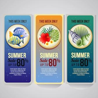 Plantilla de banner vertical de vacaciones de verano con peces y mar shell ilustración vectorial
