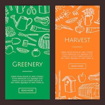 Plantilla de banner vertical de vector jardinería doodle
