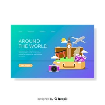 Plantilla de banner de viaje en diseño plano