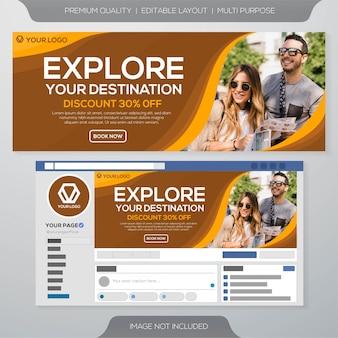 Plantilla de banner de viaje de facebook