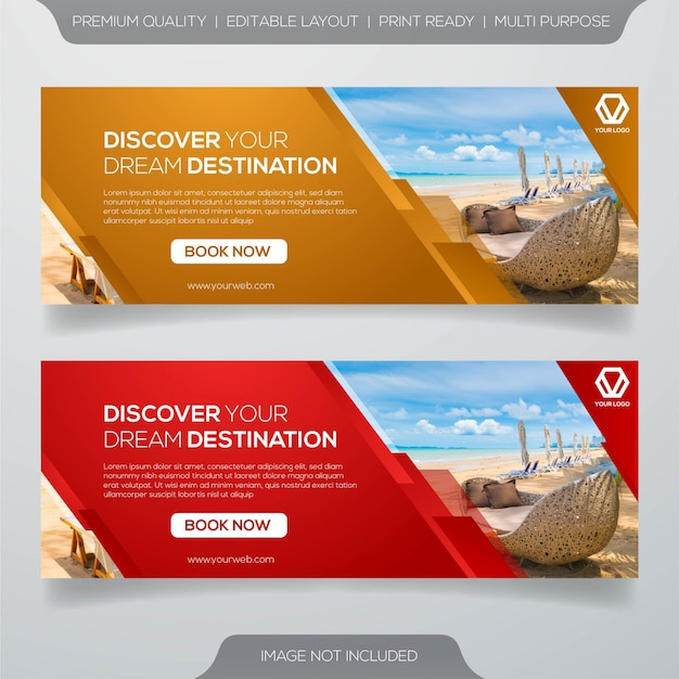 Plantilla de banner de viaje y viaje