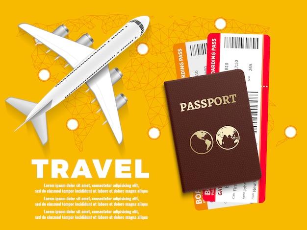 Plantilla de banner de viajes aéreos con mapamundi de avión y pasaporte - diseño de concepto de vacaciones