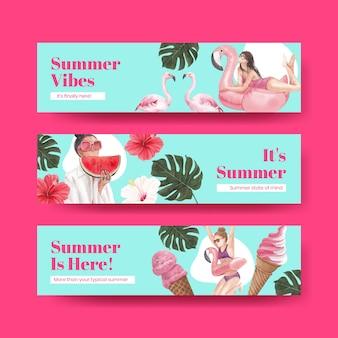 Plantilla de banner con vibraciones de verano.