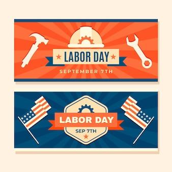 Plantilla de banner vintage del día del trabajo